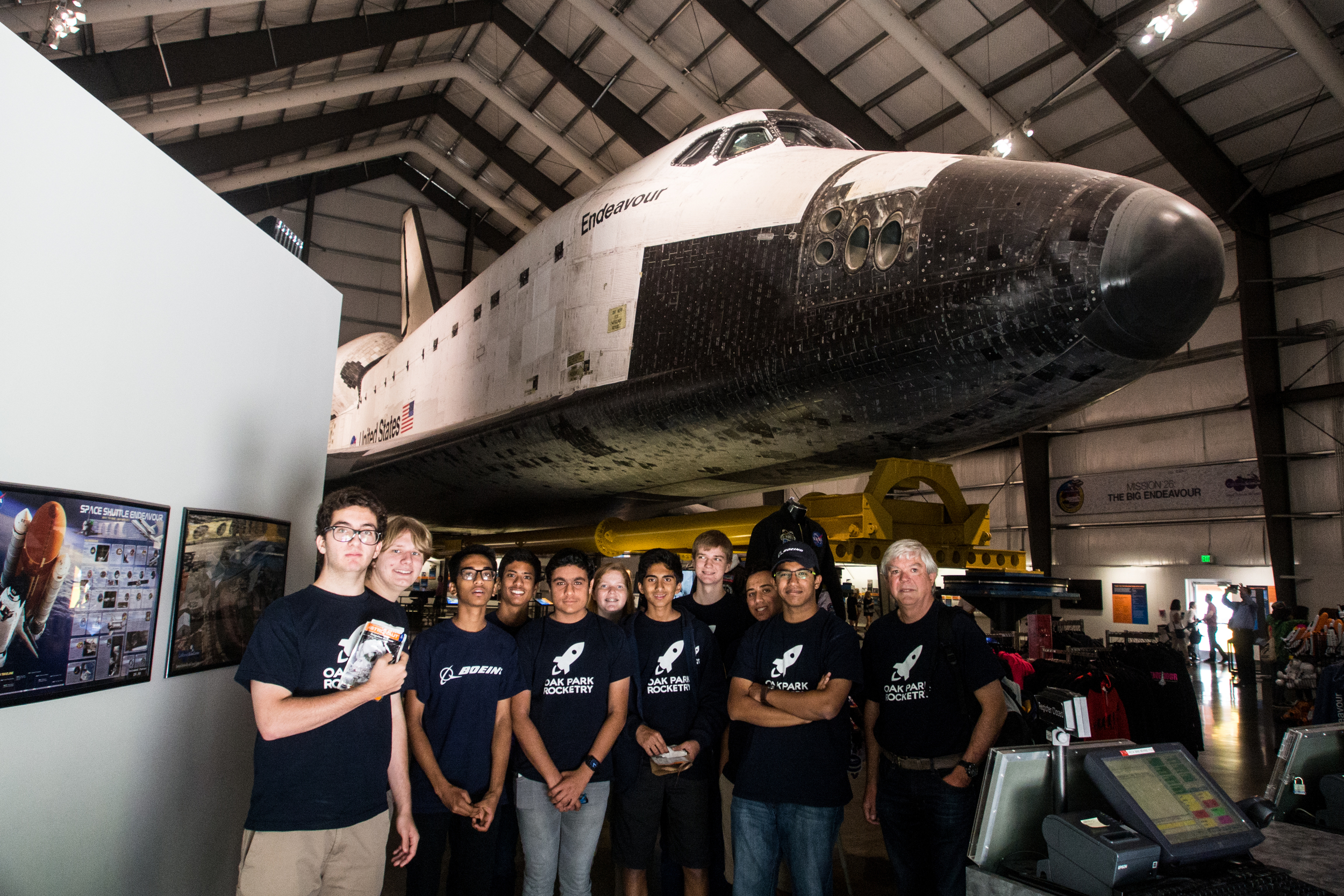 The Oak Park Rocket Club Poses in Front of Endeavour