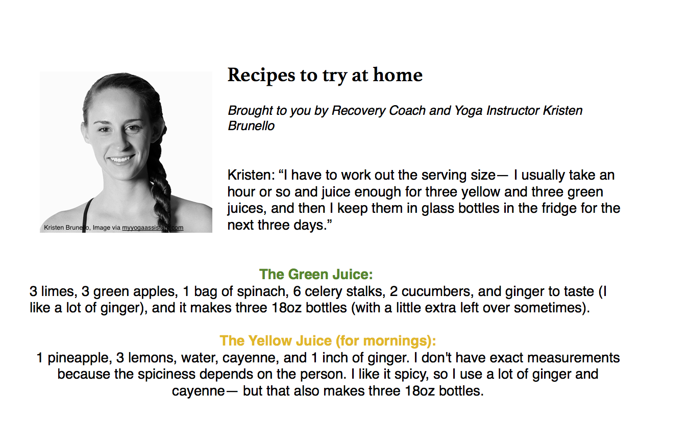 Recipes by Kristen Brunello. Recovery Coach & Yoga Instructor.  Find her at  www.alwaysabeing.com  and  www.myyogaassistant.com