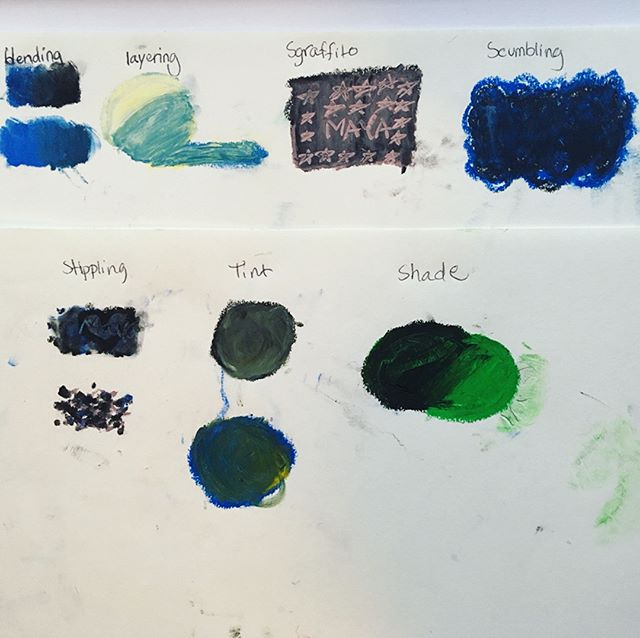 Today we learned about oil pastel techniques! Stay tuned for next week's lesson! #rainyday #blending #layering #sgraffito #scumbling #stippling #tint #shade #privateclass #artpiques #art #artforkids #artforadults #newyorkcity #nyc #oilpastels #cats #rain #umbrella