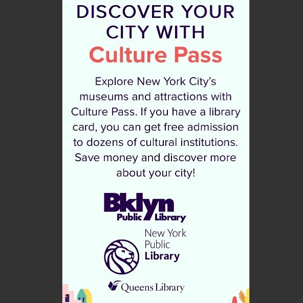 Hey New York! Now you can use your library card to access dozens of cultural institutions (museums, historical societies, heritage centers, and more!) for FREE! 👏 👏 👏 🎉 🎊 🙏 🙏 Reserve your tickets at culturepass.nyc to start exploring! . . . . . . . . . #culturepass #culturepassnyc #nypl #nylibrarycard #freenyc #freemuseum #hurrah #artpiques #art #artforall #explorenyc