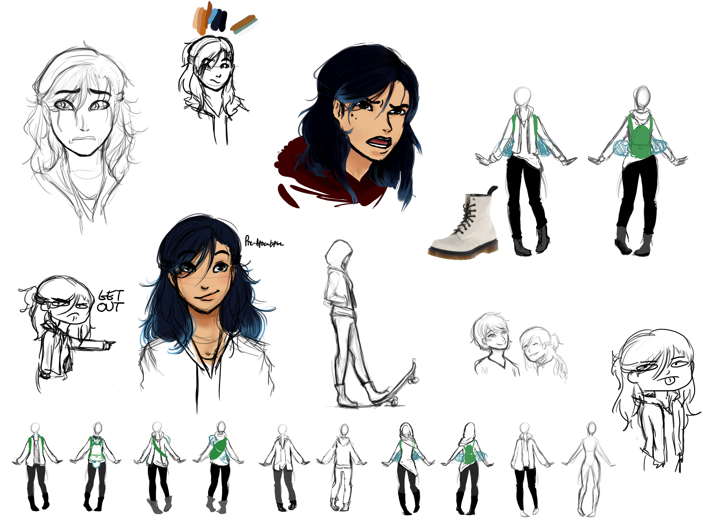 Designing the protagonist & playing with her look.