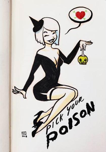 Poison  - Day 1   Kuretake Brush Pen    /    Zig Brush Pens