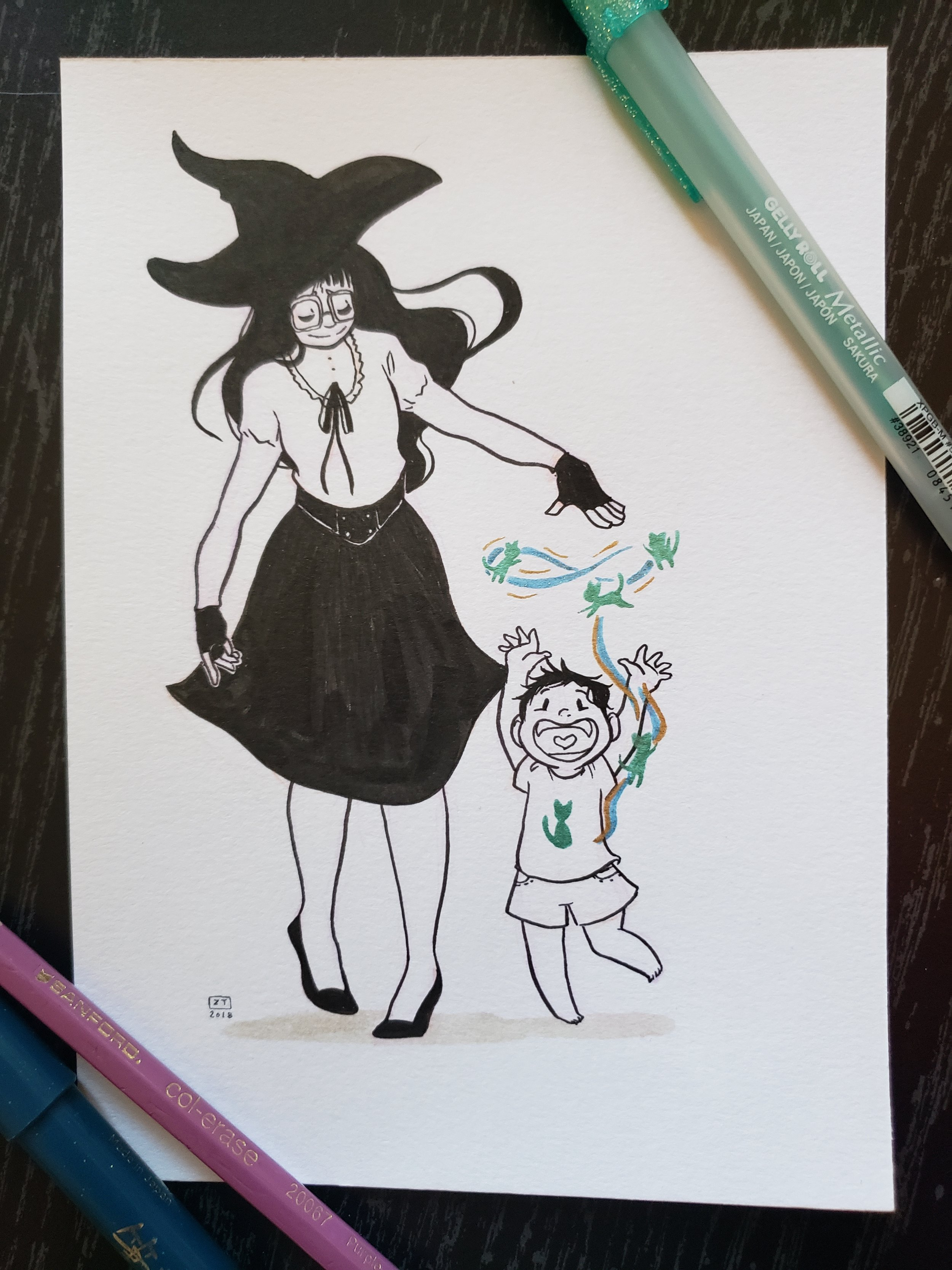 Precious  - Day 9   Prismacolor Ink Pen    /    Kuretake Brush Pen   /   Gelly Roll Pen