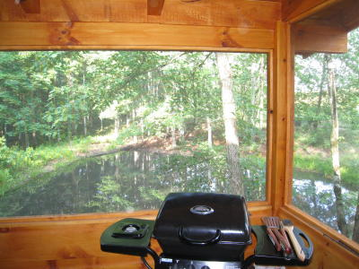 Gas barbecue grill on deck overlooking pond at Arabian Nights cabin.