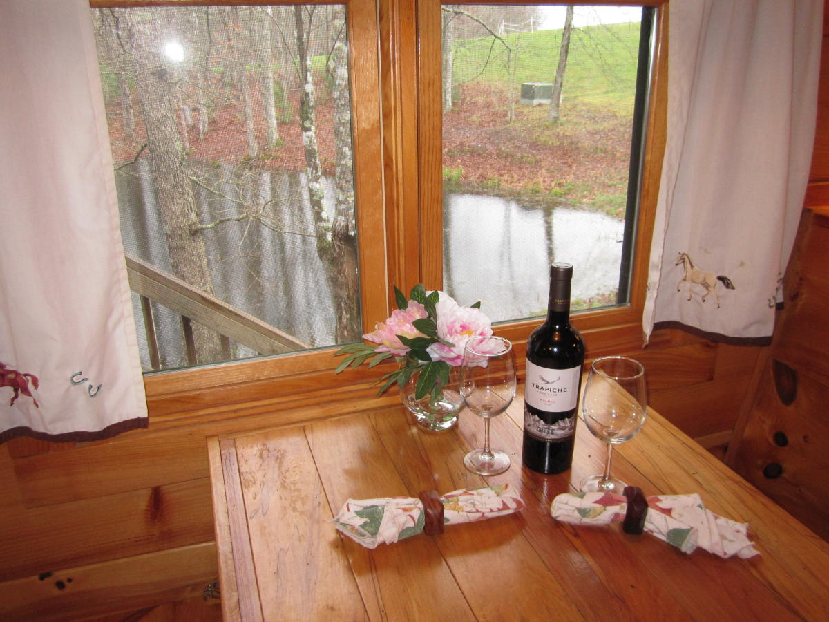 Wine and wine glasses on table overlooking pond.