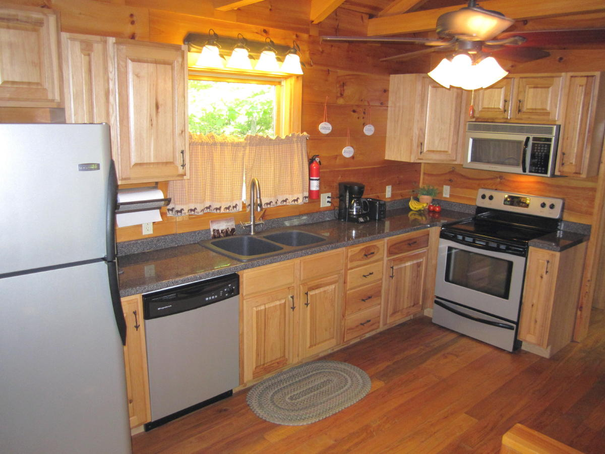 Full-size kitchen at Arabian Nights cabin.