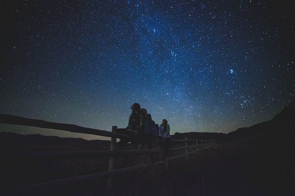 Stargazing in open field