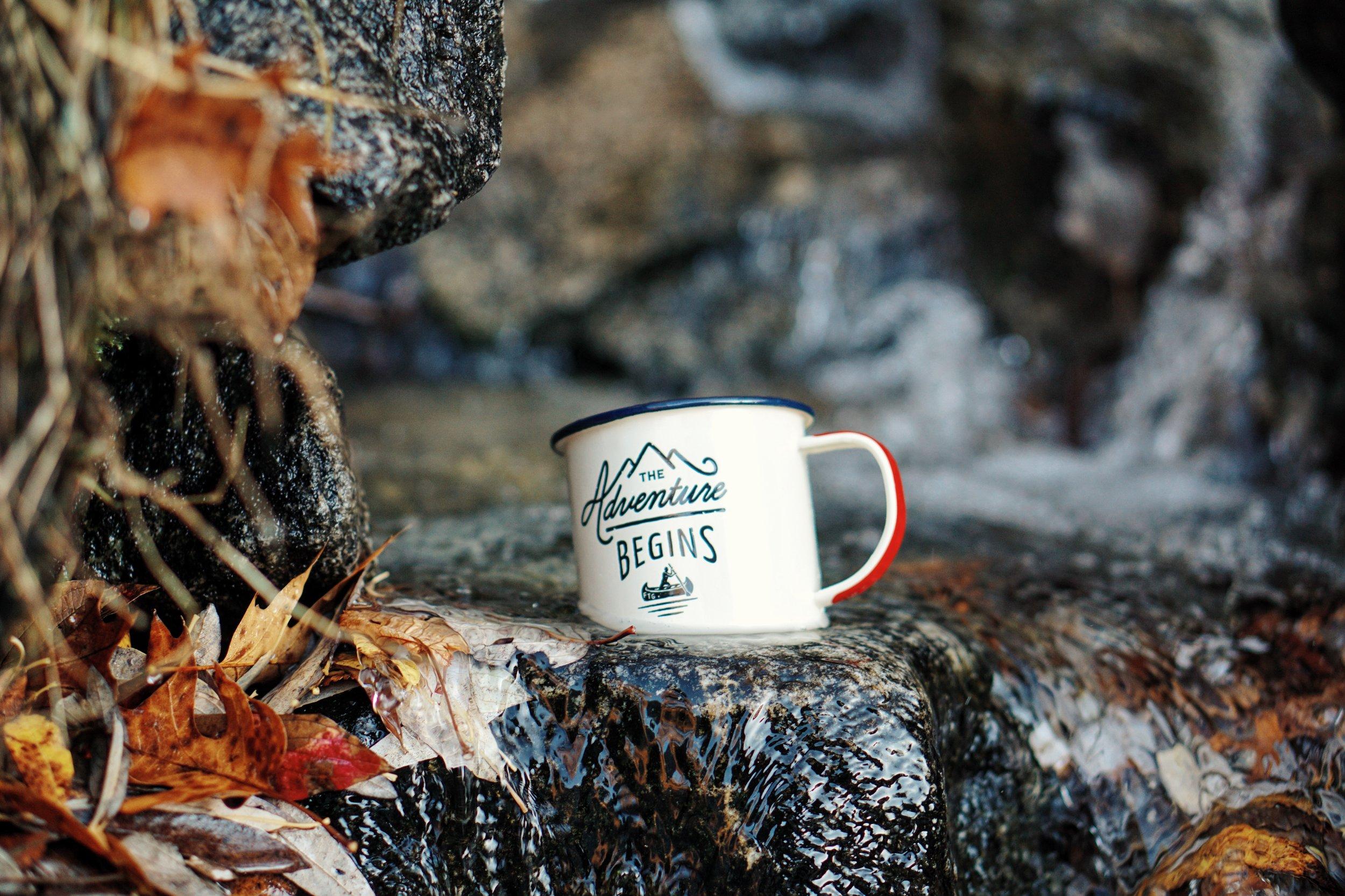 hiking adventure with coffee mug