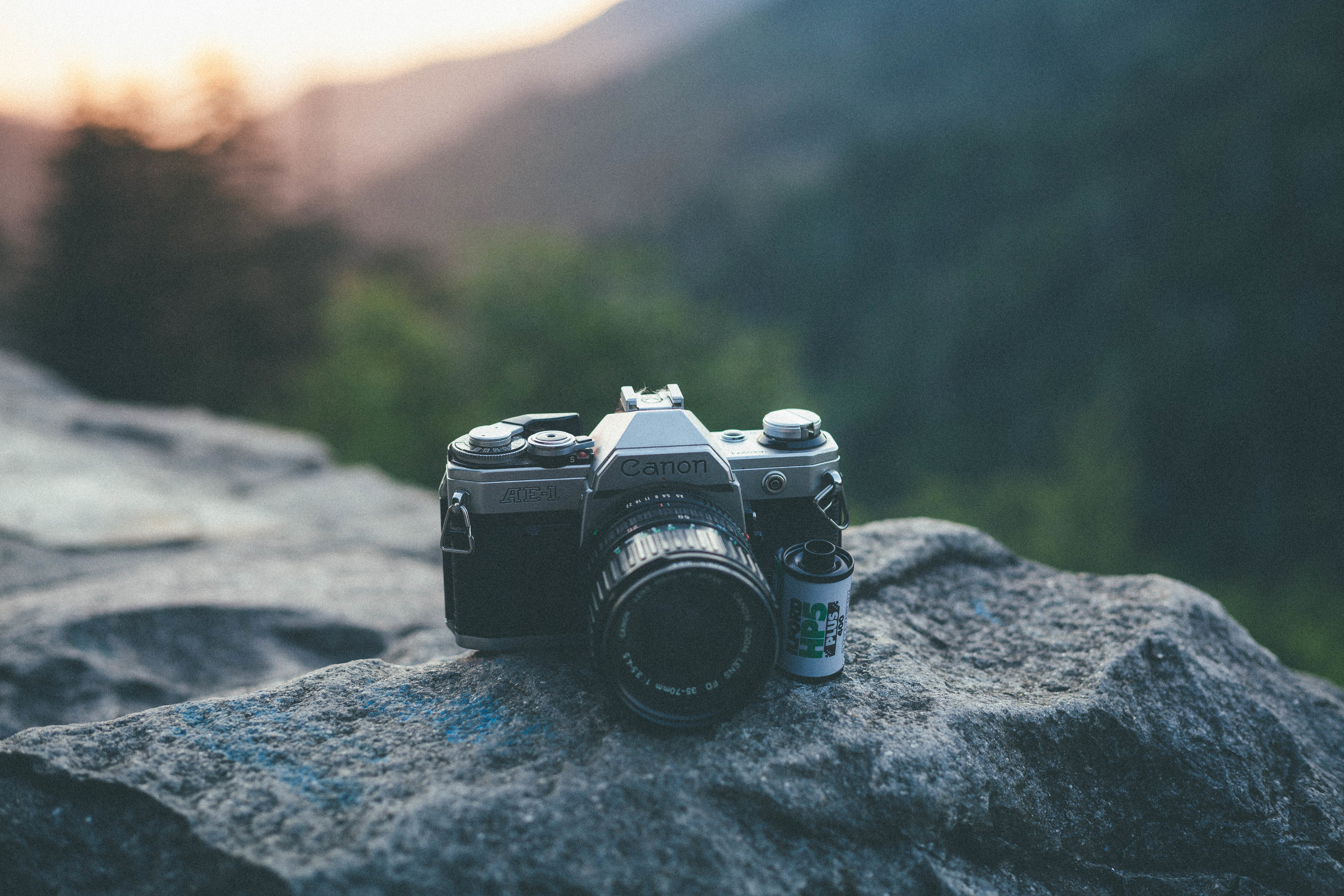camera on rock at overlook