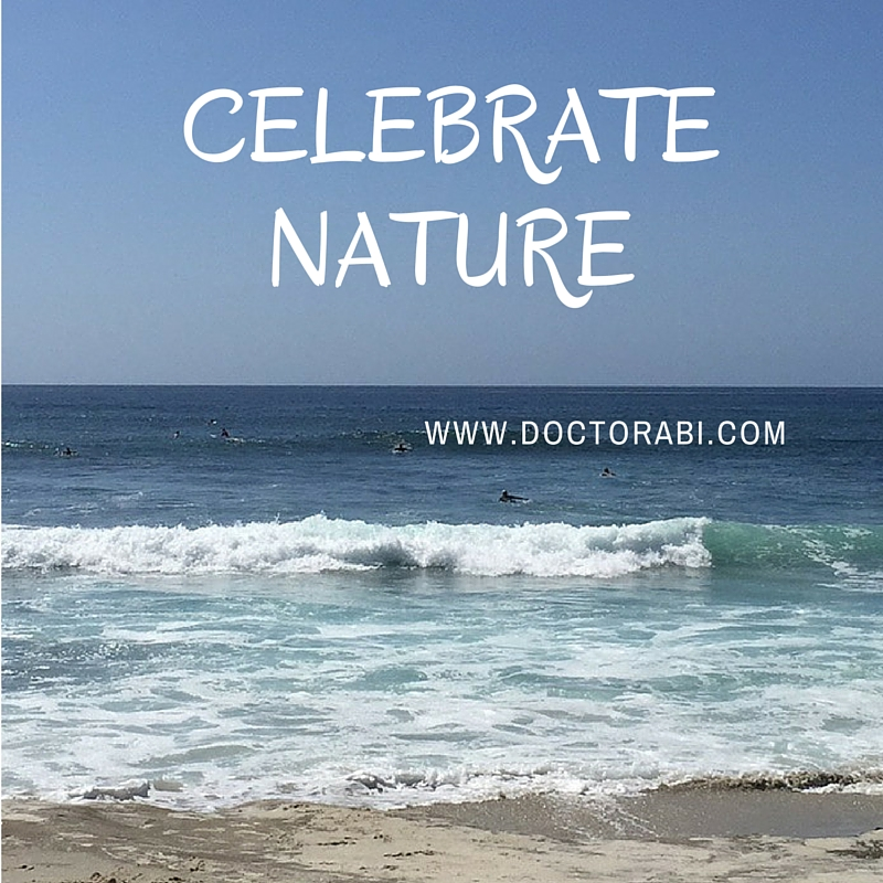 "[Picture of surfers surfing the waves with writing super imposed on the picture that reads ""Celebrate Nature.""]"