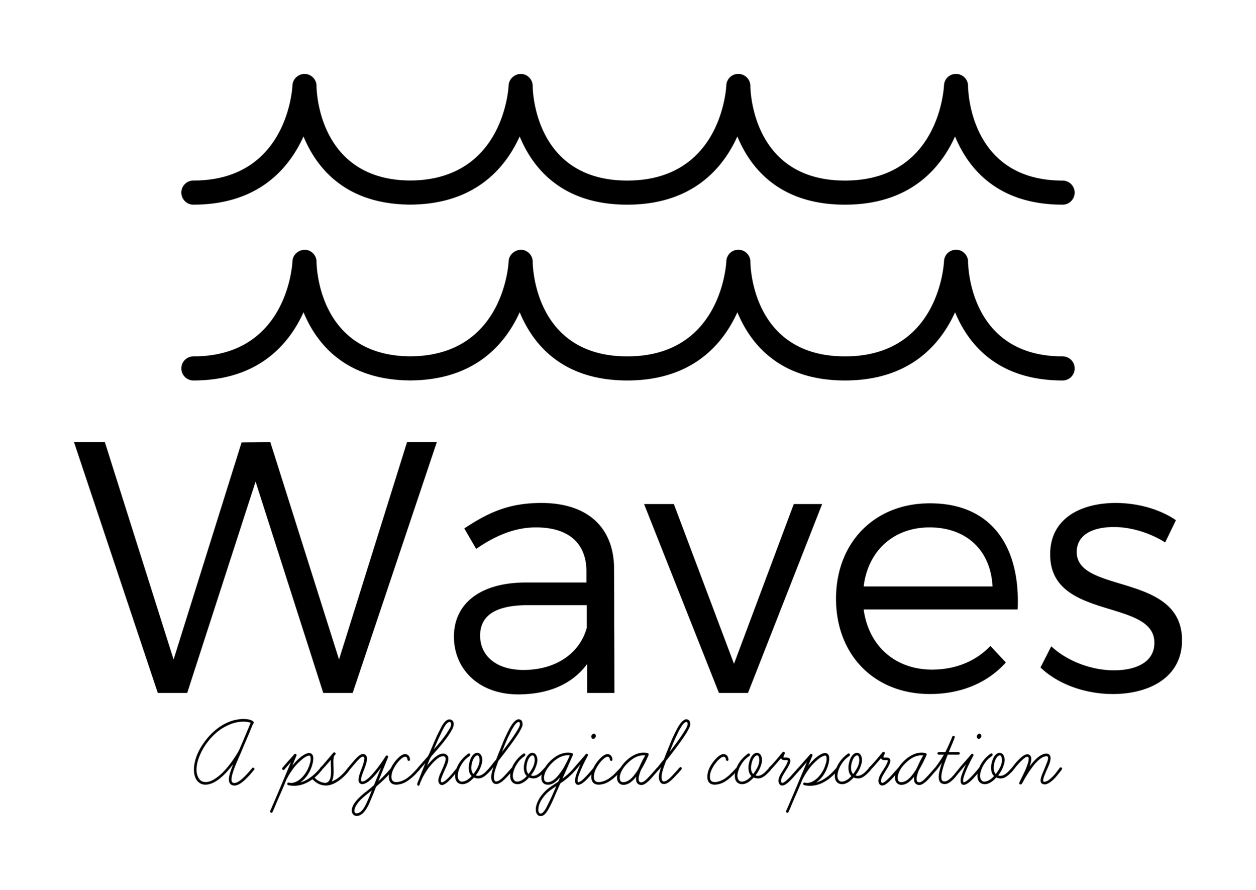 The logo of Waves, A Psychological Corporation in black complete with ocean waves on the top of text.