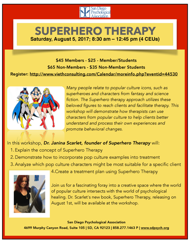 Can't wait to learn about superhero therapy!!