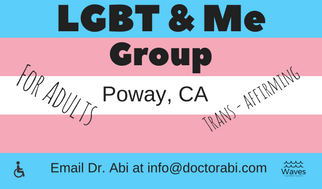 Trans flag with information about LGBT&Me Adult group layered on top of it. Person in wheelchair image and Waves logo also superimposed on top of flag. Email Dr. Abi at info@doctorabi.com for more information.