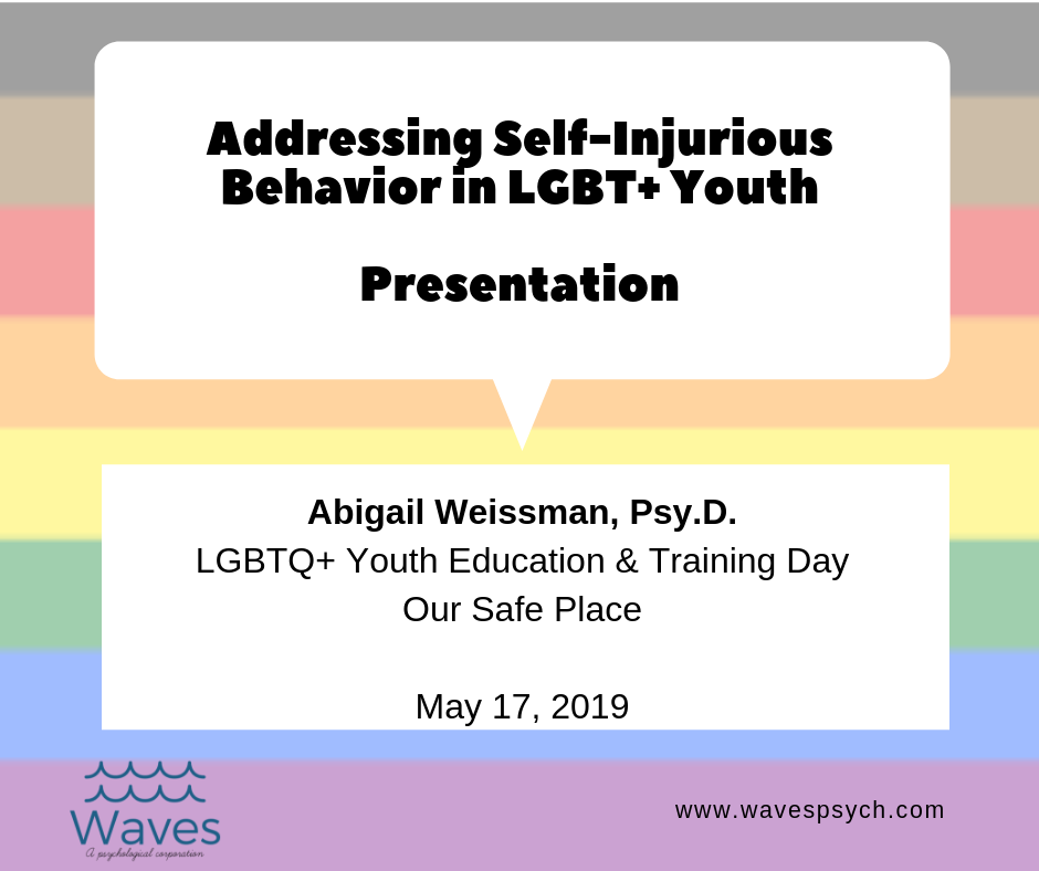 Dr. Abigail Weissman is presenting on Addressing Self-Injurious Behavior in LGBT+ Youth for the LGBTQ+ Youth Education & Training Day of Our Safe Place, San Diego, CA on May 17, 2019. I'm so excited!