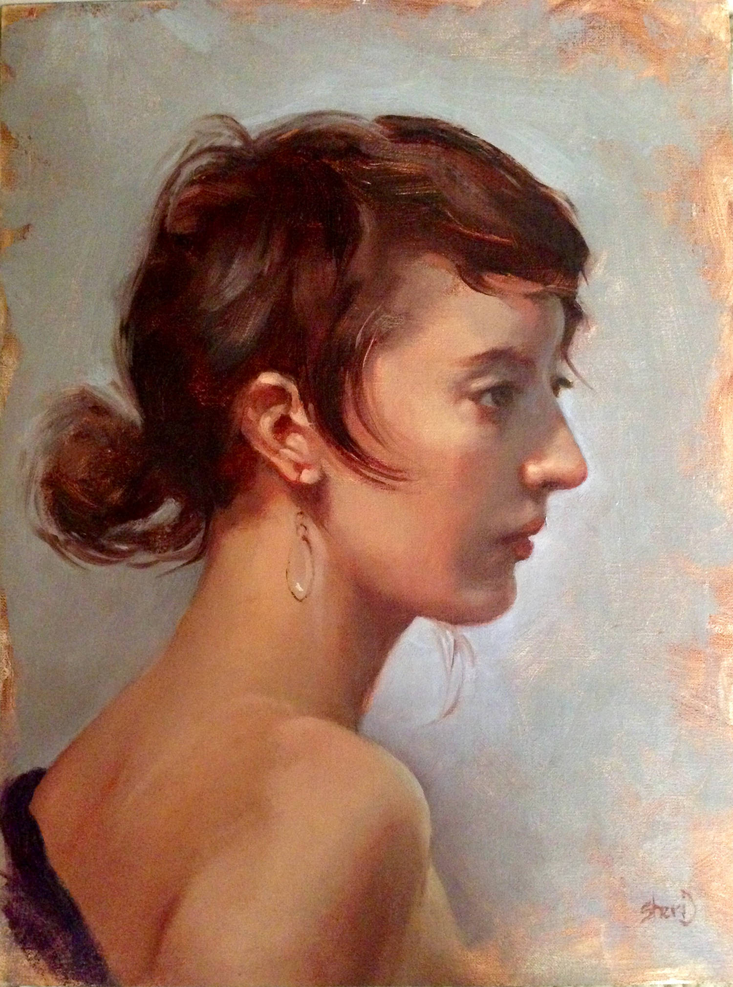Girl with a Crystal Earring  - 12 x 9 Oil on Linen