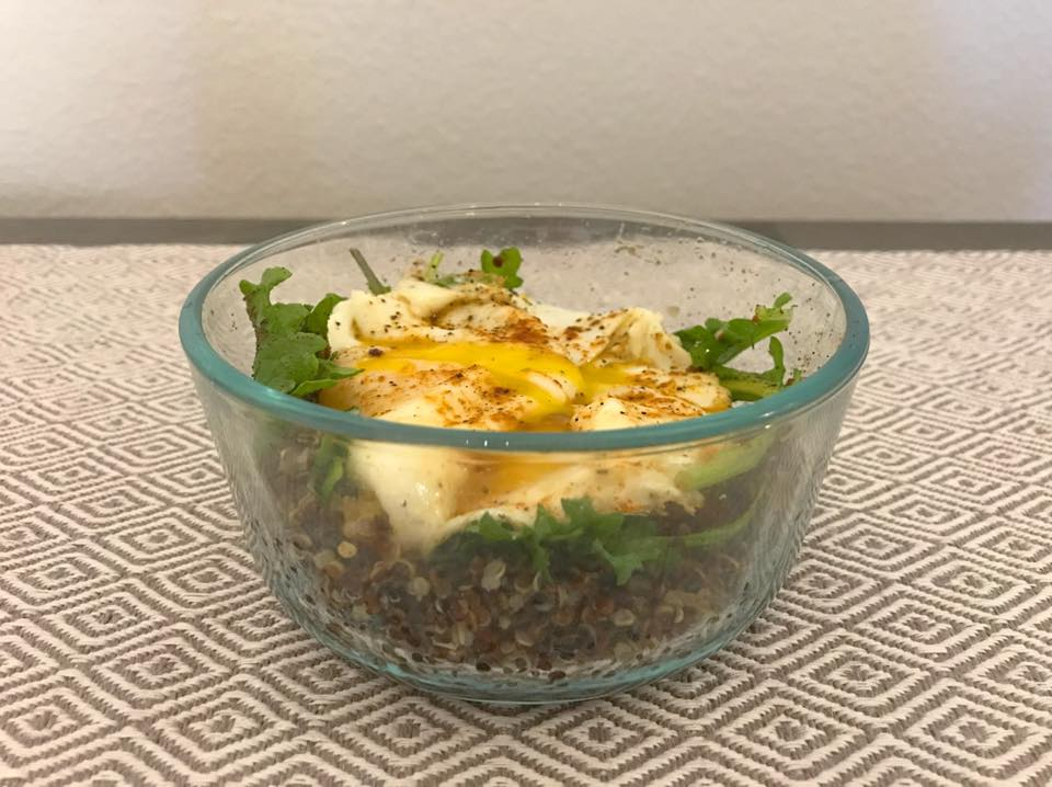 Quinoa [sprinkled with herbs & spices] + Arugula + Eggs = Bomb Breakfast!