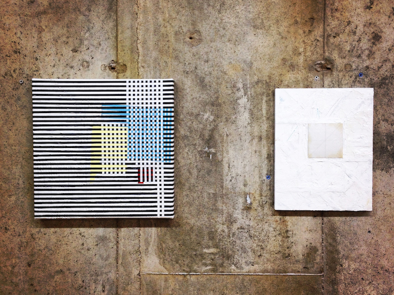 Left:  No.860042514 , 2014, pencil, acrylic, oil and tape on canvas 16 x 16 inches Right:  Cube VII , 2012, mix media on panel, 14 x 11 inches Installation view at Group Velocity, Interstate Projects, Brooklyn, New York, 2014