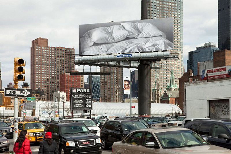Felix Gonzalez-Torres, Untitled, 1991. Installation view at 11th Avenue and 38th Street, Manhattan (February 20–March 18, 2012), as part of  Print/Out,  The Museum of Modern Art, New York.