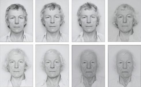 """Some of Opalka's self-portraits """"OPALKA 1965/1 -∞"""", each 9 7/16 x 12 in (24 x 30.5 cm)"""