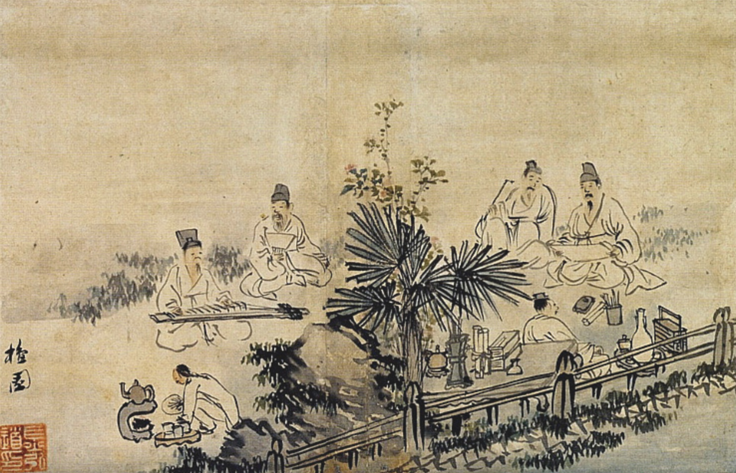 A young apprentice is brewing tea while the intellectuals enjoy music and discussions in nature .Kunhyundo (군현도群賢圖), Kim Hong-do (1745 - 1806).