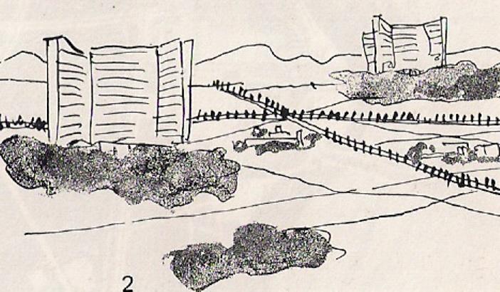 Le Corbusier,  La Ville Radieuse  (1924) conceptual sketch.
