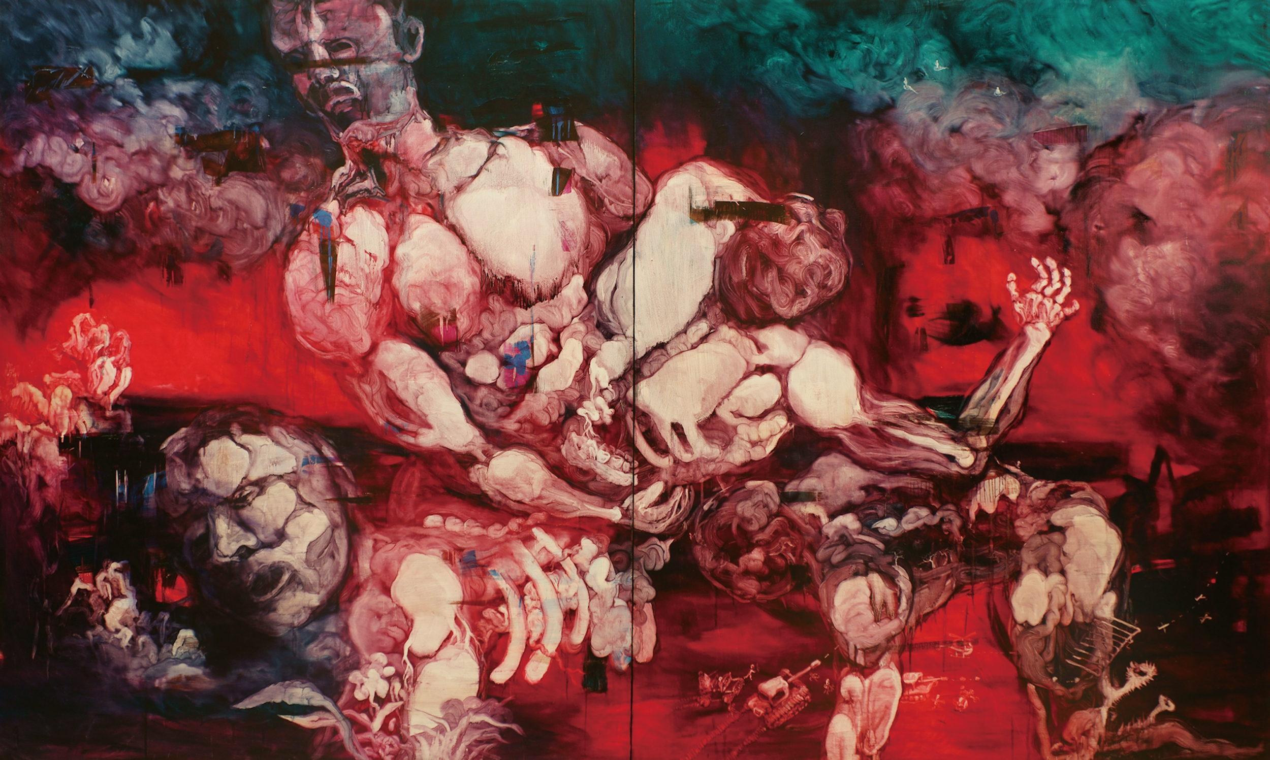 Chang-Ling,  The Re-creation of the Meat Word  from  The Pork Belly Series: Flesh Religion ,  2010,  oil on canvas,   240 x 400 cm. © Courtesy of InSian Gallery