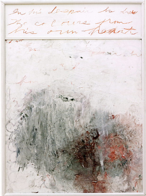 Analysis of the Rose as Sentimental Despair Part I  (1985),oil, house paint, acrylic, and crayon on plywood, 64 x 46 inches,Menil Collection.