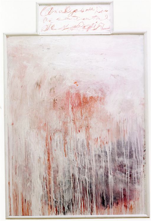 Analysis of the Rose as Sentimental Despair Part III  (1985), oil, acrylic, and crayon on canvas stapled to plywood; acrylic and crayon on plywood,96 x 63 inches,Menil Collection.