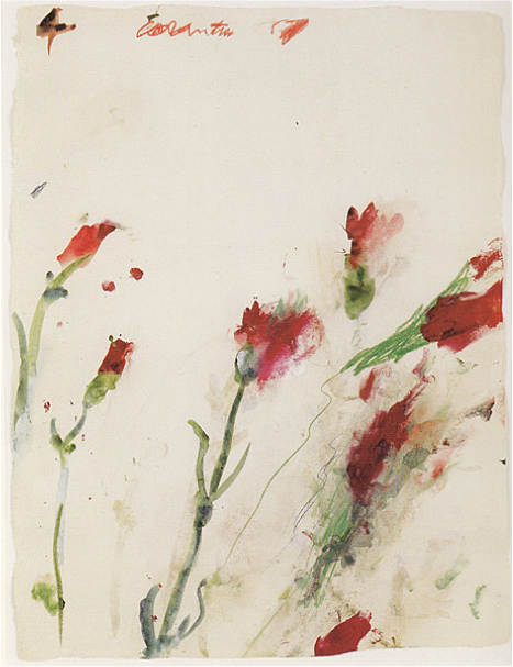 Untitled No. 4 , from the series Carnations (1989), oil, crayon, and watercolor on paper, 27 x 17 inches.