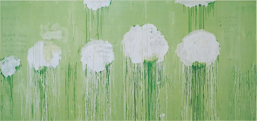 Untitled (Peony Blossom Paintings)  (2007), acrylic, wax crayon, pencil on wood,99 x 217 inches.