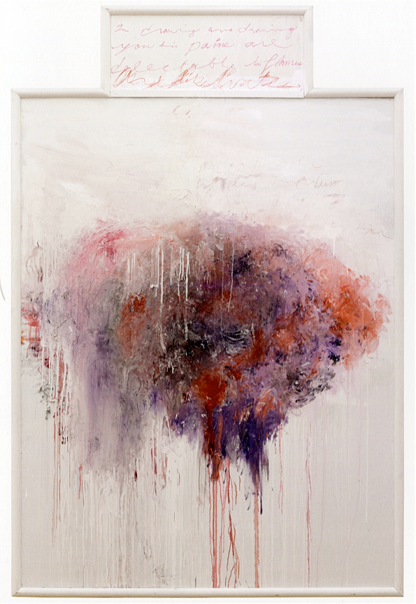Analysis of the Rose as Sentimental Despair Part V  (1985), oil, acrylic, and crayon on canvas stapled to plywood; acrylic and crayon on plywood,96 x 63 inches,Menil Collection.