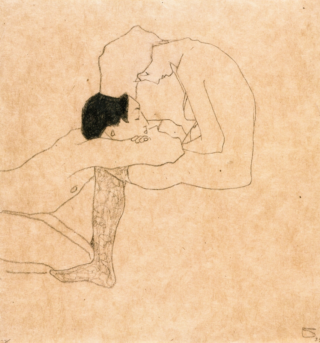 Egon Schiele,  Lovers,  1909, pencil and colored crayon on paper, 31.5 x 29.5 cm, private collection.