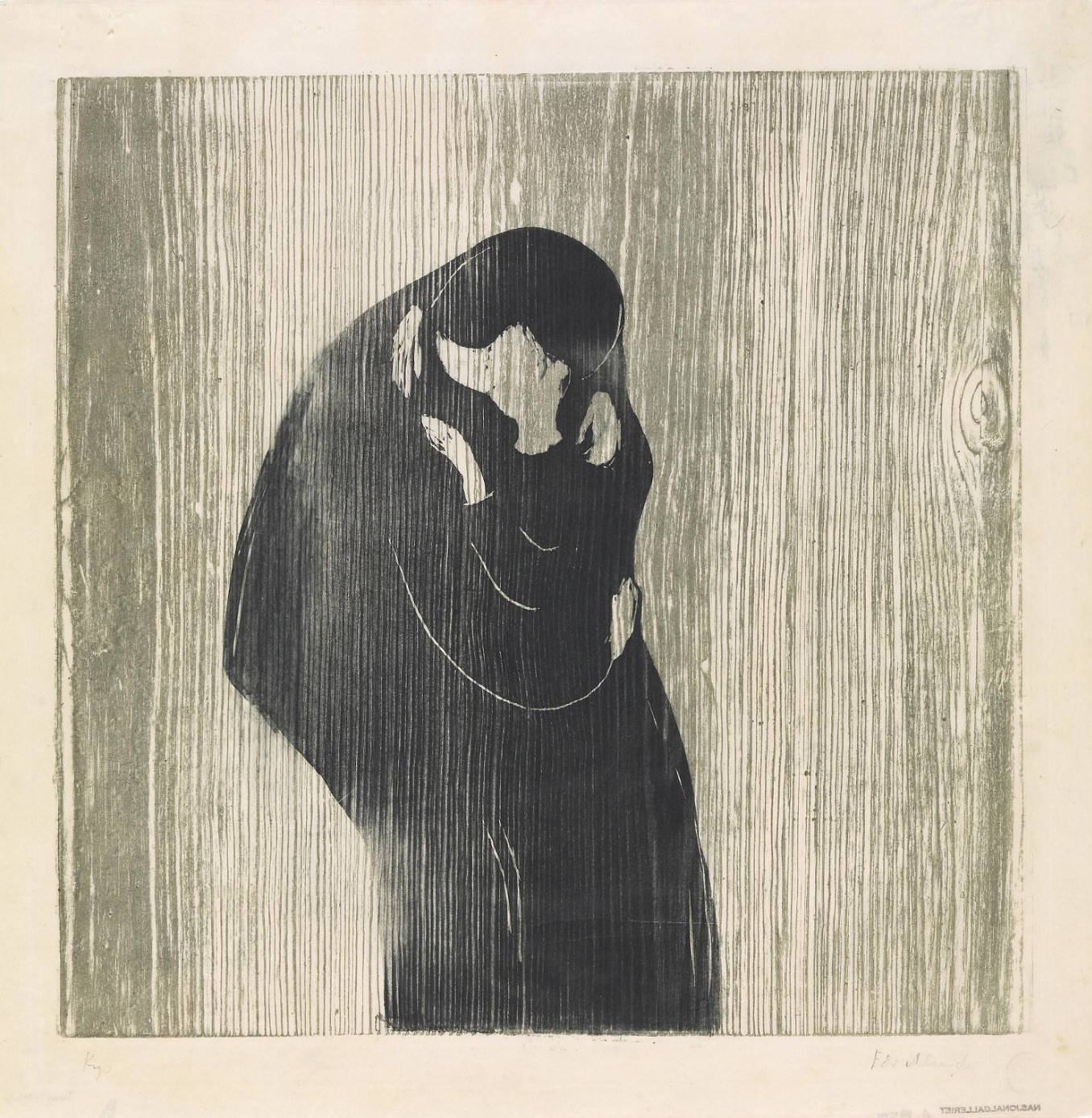 Edvard Munch,  The Kiss IV , 1902, two-colour woodcut, 47.1 x 47.6 cm, National Museum of Art, Architecture and Design, Oslo.