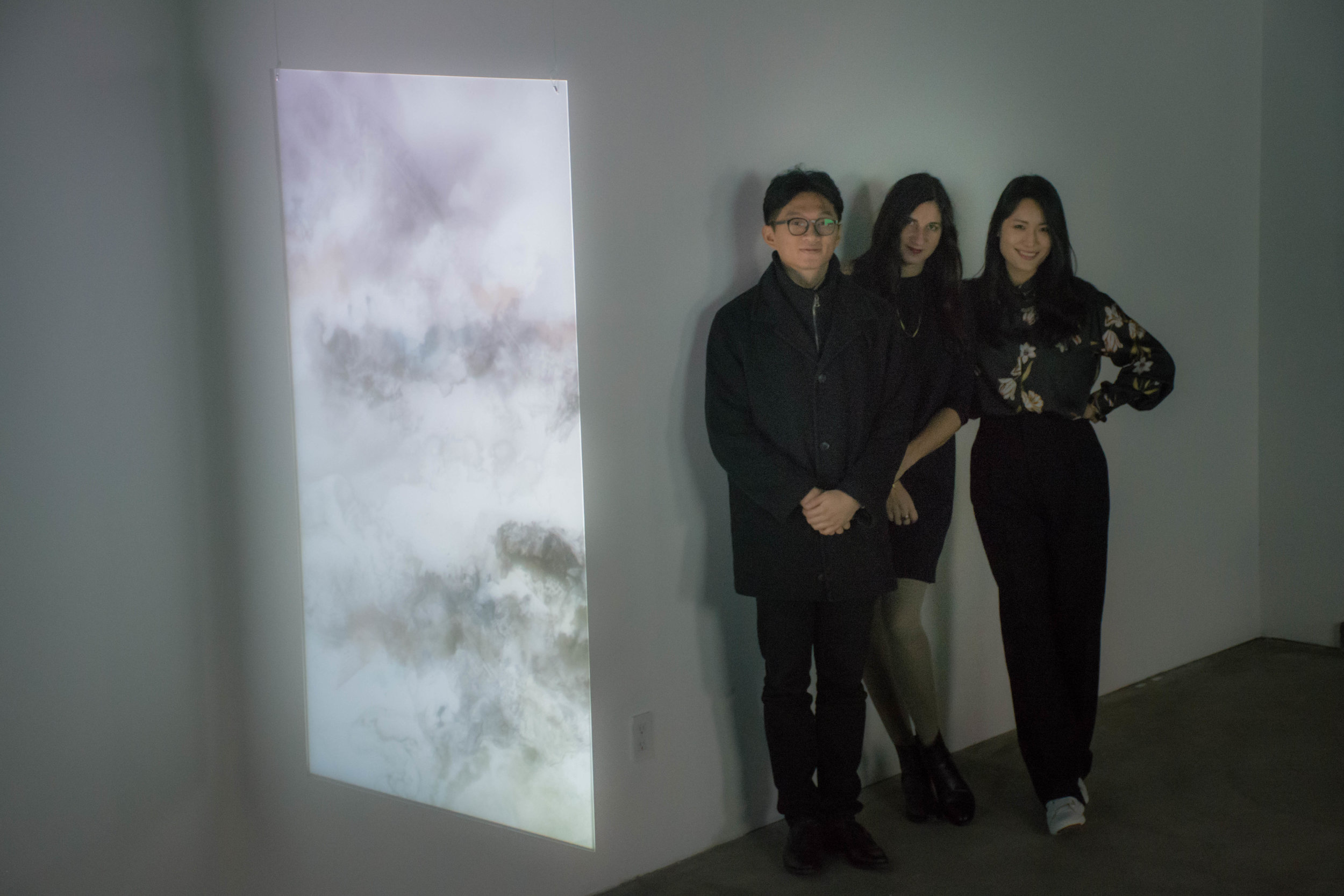 Left to Right: Composer Shiuan Chang, Artist Simona Prives and Curator Grace Noh at  May We Share Our Minds?  Exhibition Opening Night at John Doe Gallery