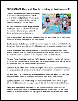 """Download and print """"CHALK4PEACE Hints & Tips"""""""