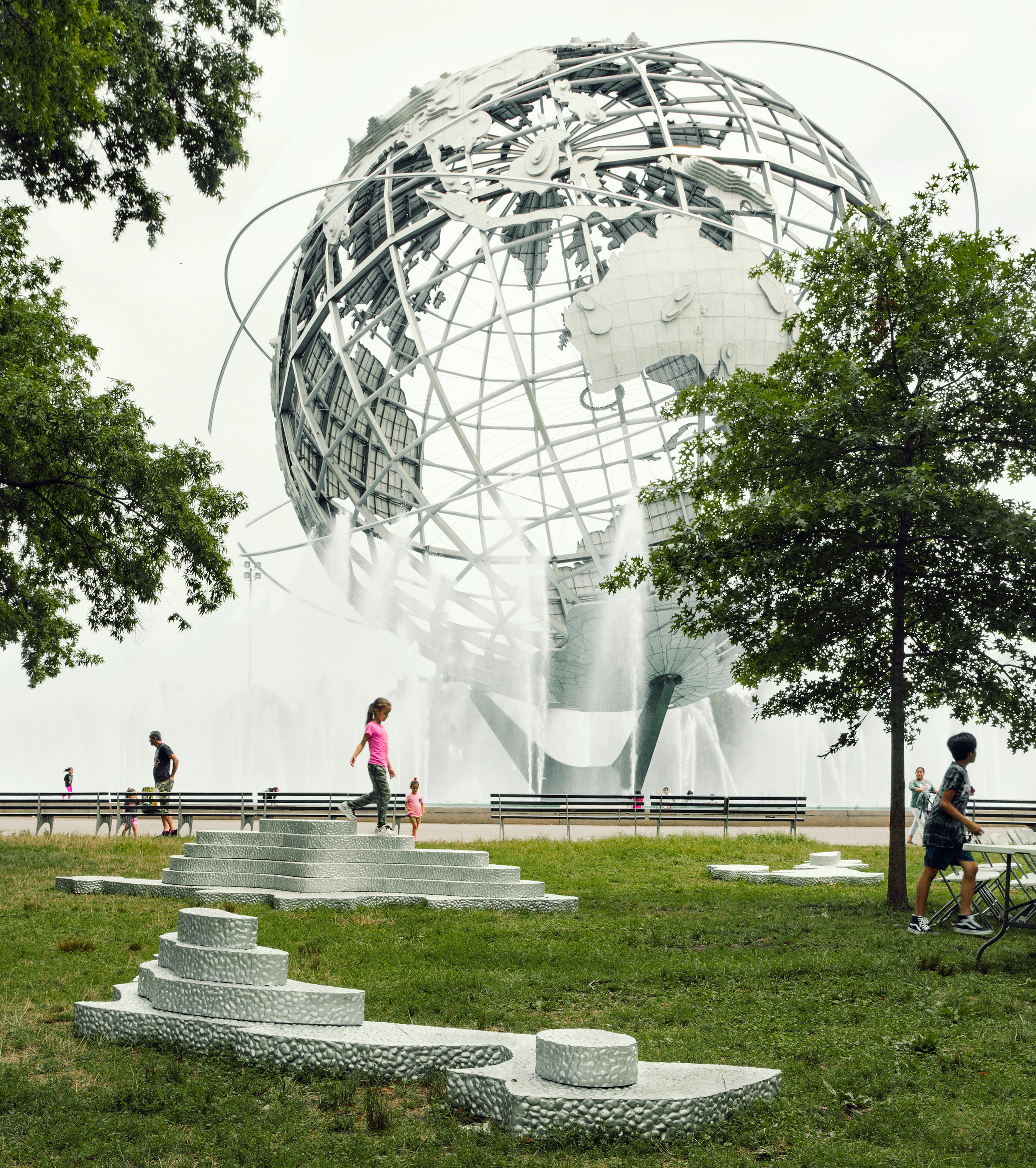 Flushing Park Quens - Islands of the Unisphere (foreground) by Zaq Landsburg