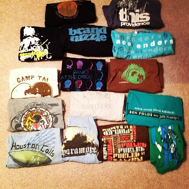 My remaining band t-shirt collection. A few of my favorites are missing due to frequency of wear. Sad day.