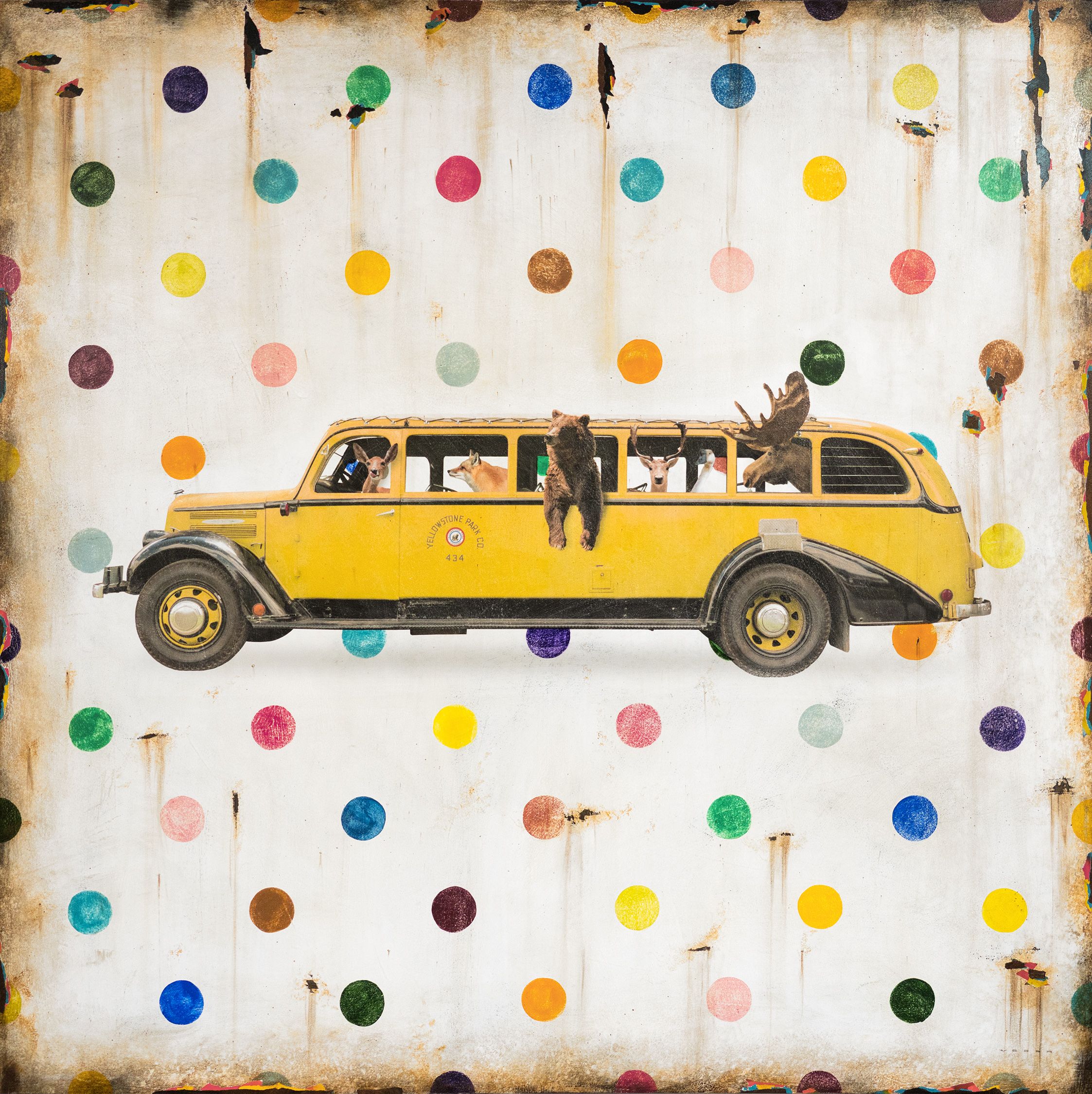 GET ON THE BUS, 48 X 48, SOLD