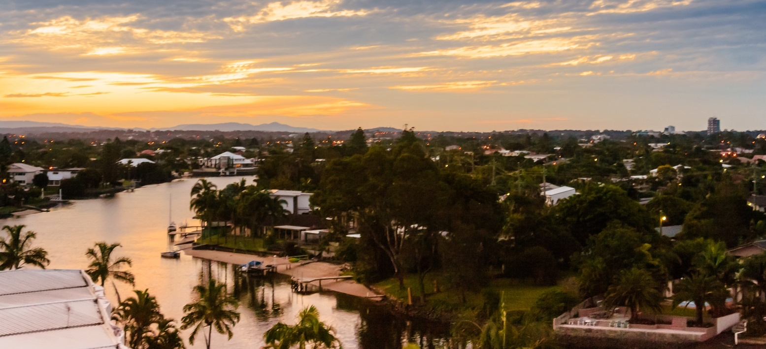 Properties along one of the Gold Coast's many canals. There are plenty of areas with good investment potential away from the Gold Coast's beaches.