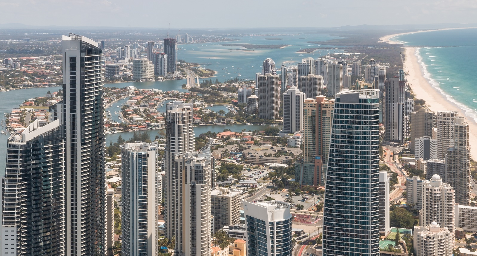 Looking north towards Surfers Paradise, Main Beach and Southport. While high-rises are symbolic of the Gold Coast, they generally make poor investments due to the lack of owner-occupier demand and continuing issues of oversupply.