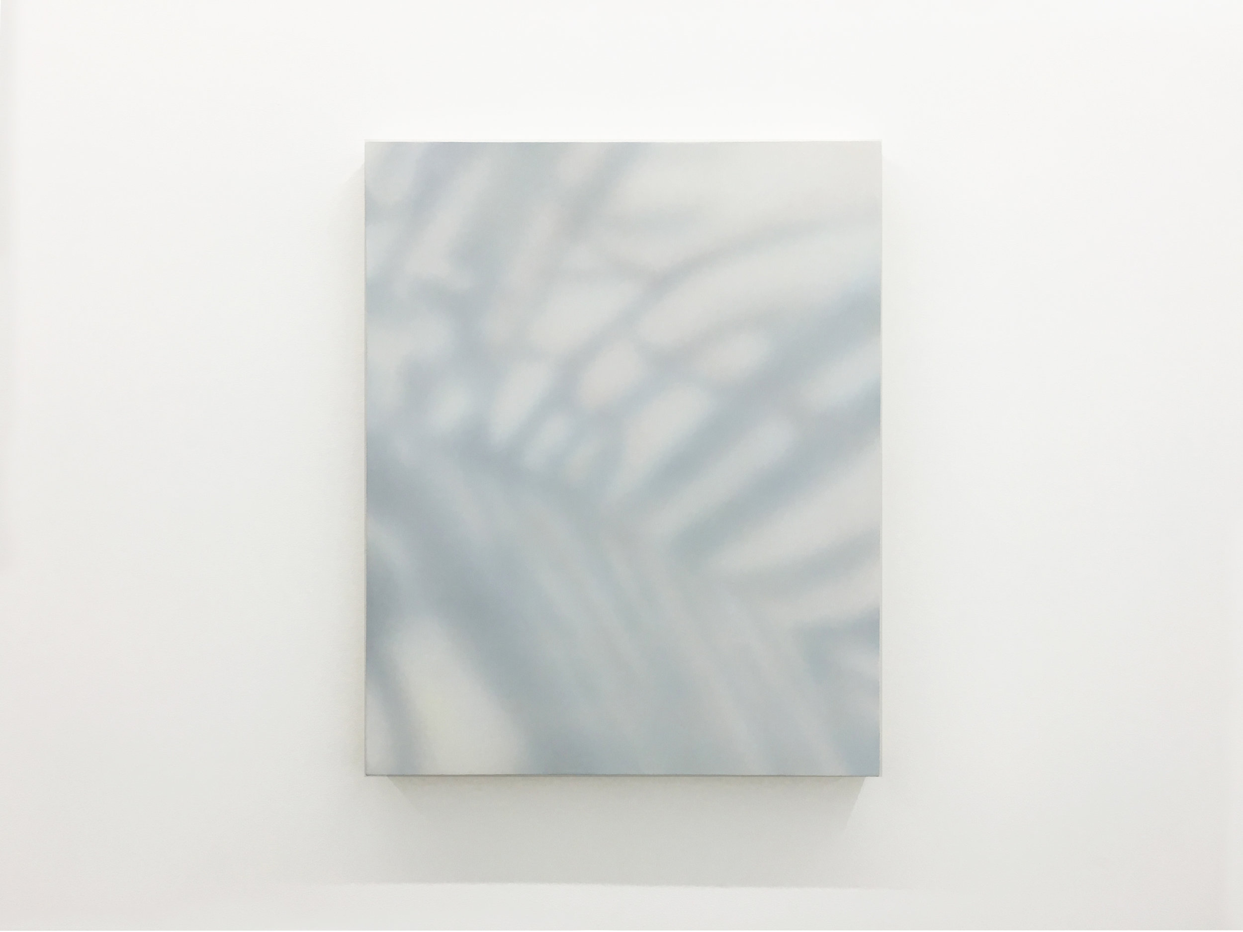 James Case Leal's painting depicts an abstracted shadow of plant matter resembling palm leaves