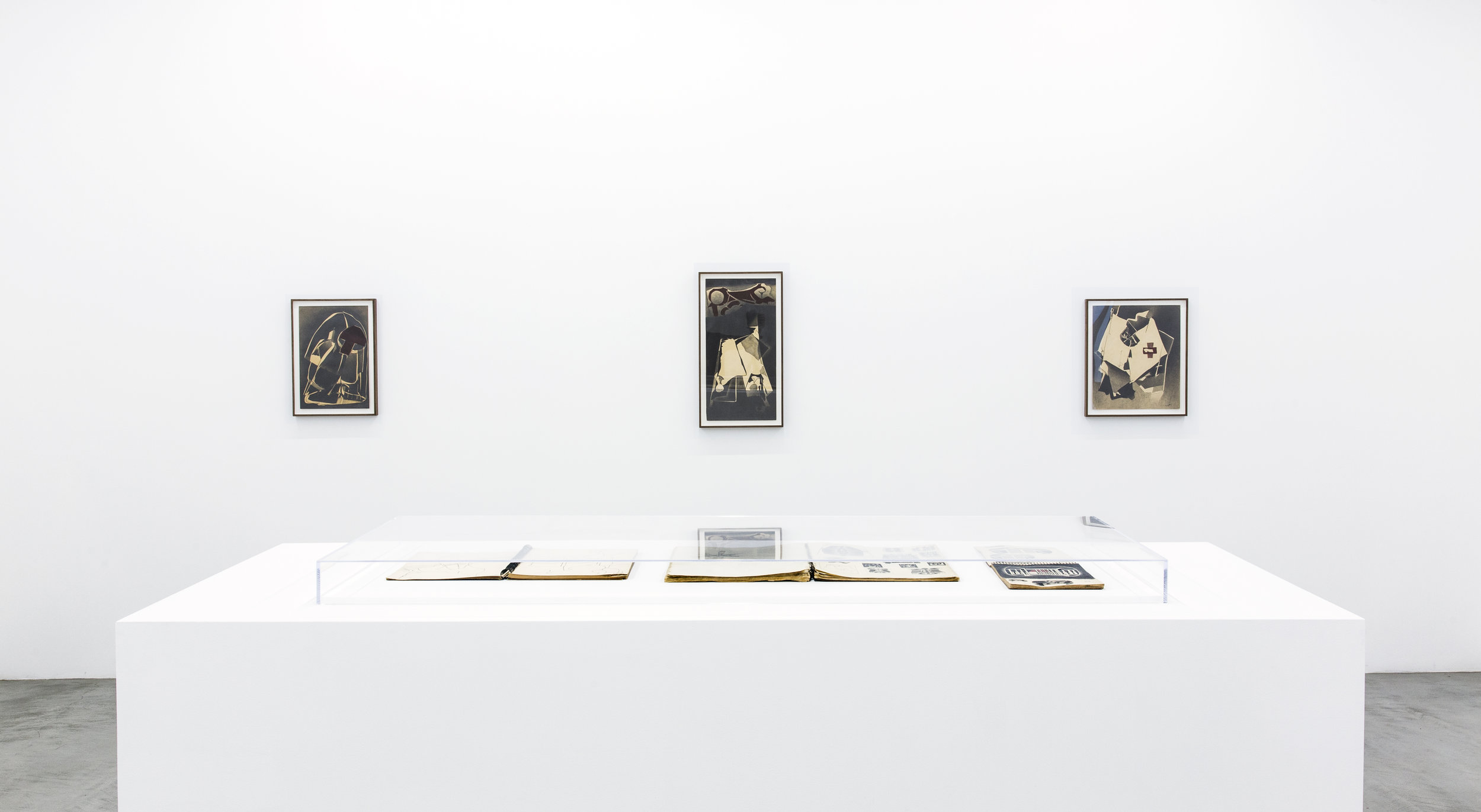 Installation view of Deborah Remington's sketchbooks and early works on paper.
