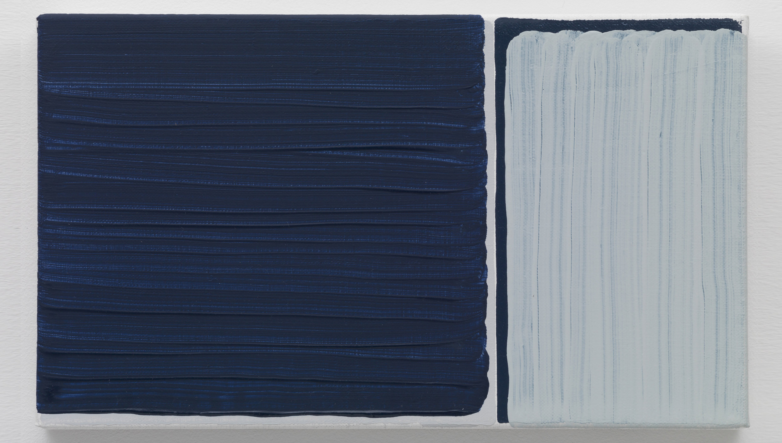 View of Yui Yaegashi's painting of layers of deep and light blues atop grey.