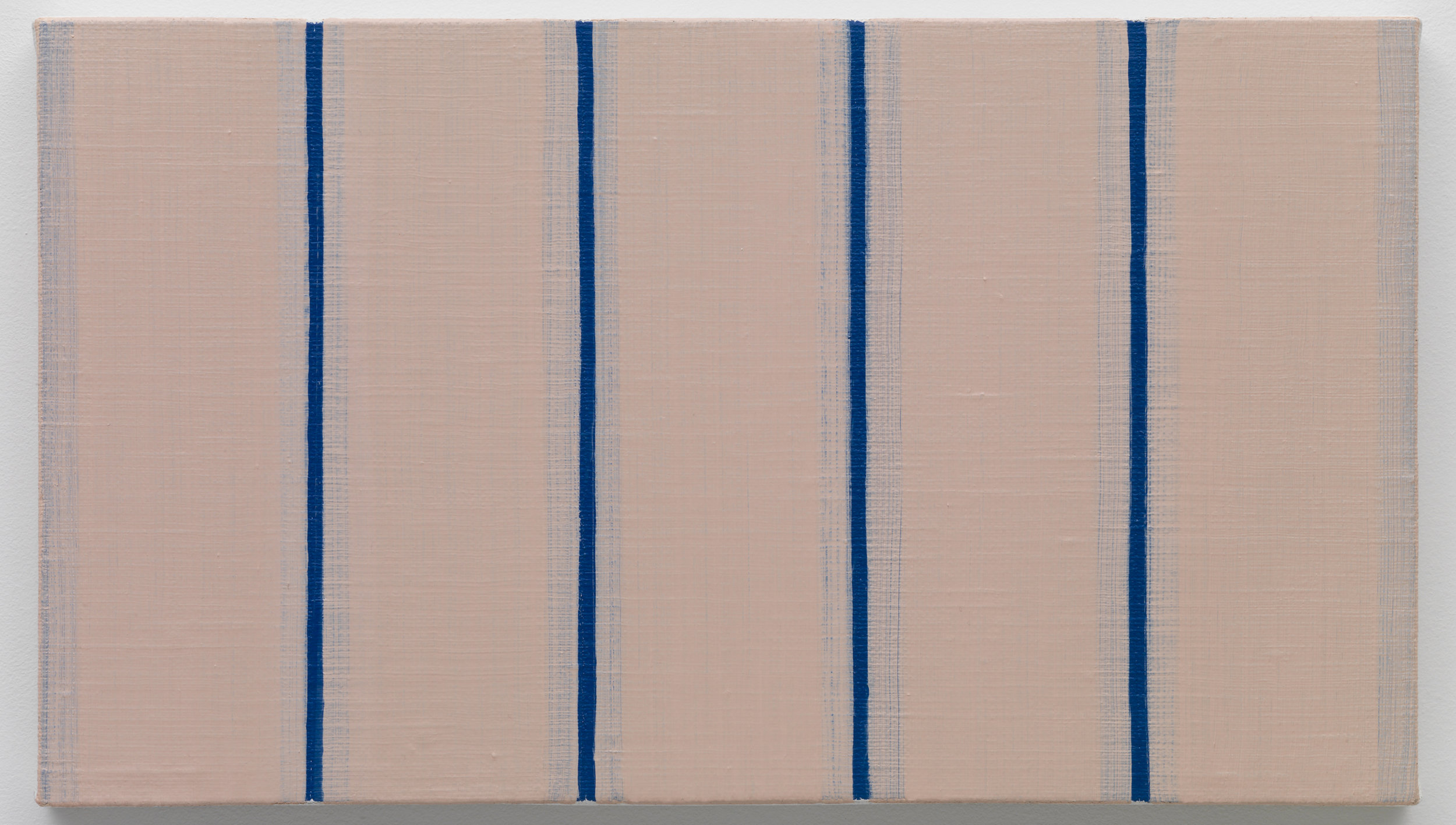 Yui Yaegashi's small scale painting with vertical pink stripes layered atop thin bright blue stripes showing from beneath