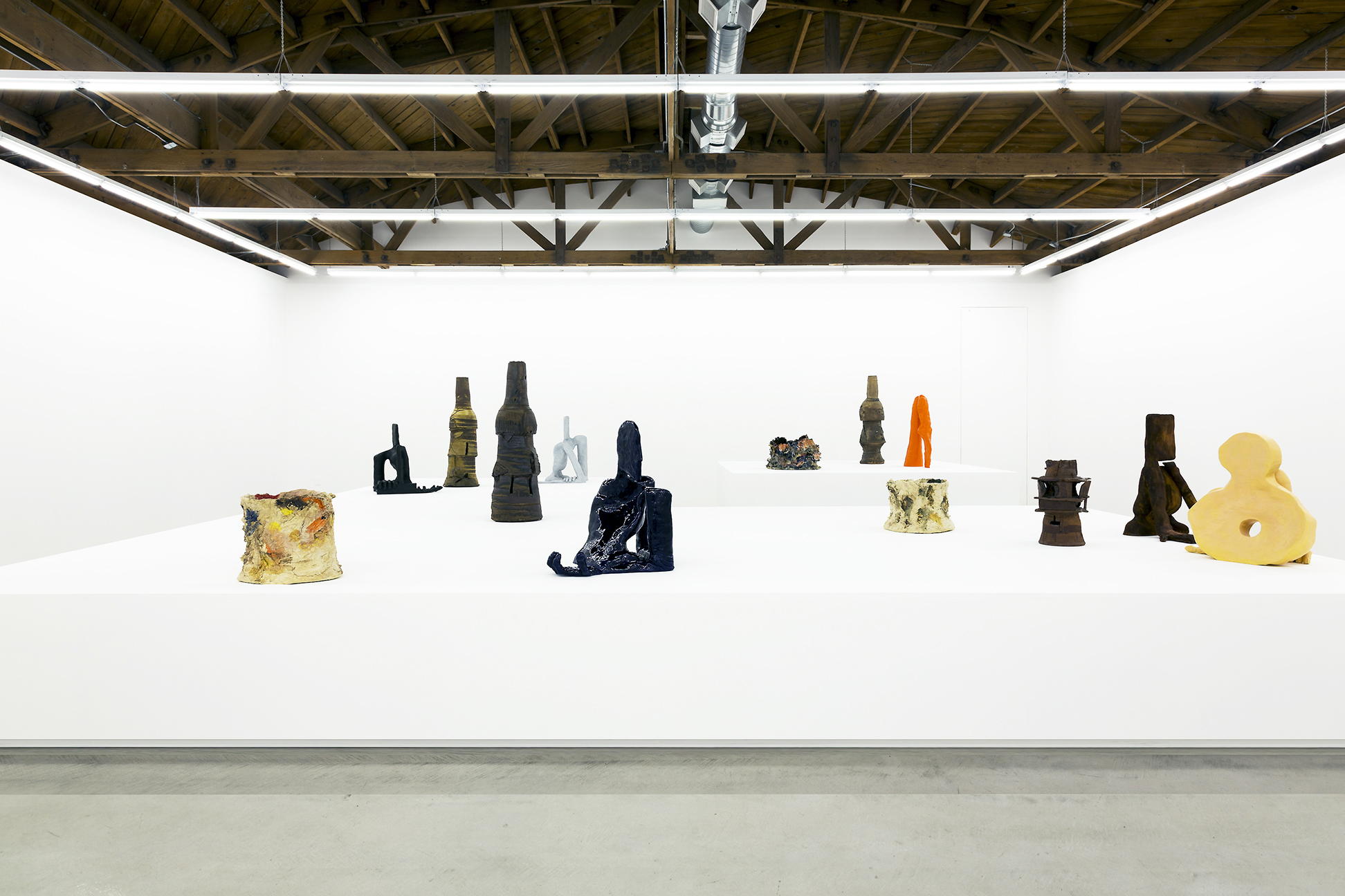 Installation view of Jesse Wine and Peter Voulkos works in ceramic.