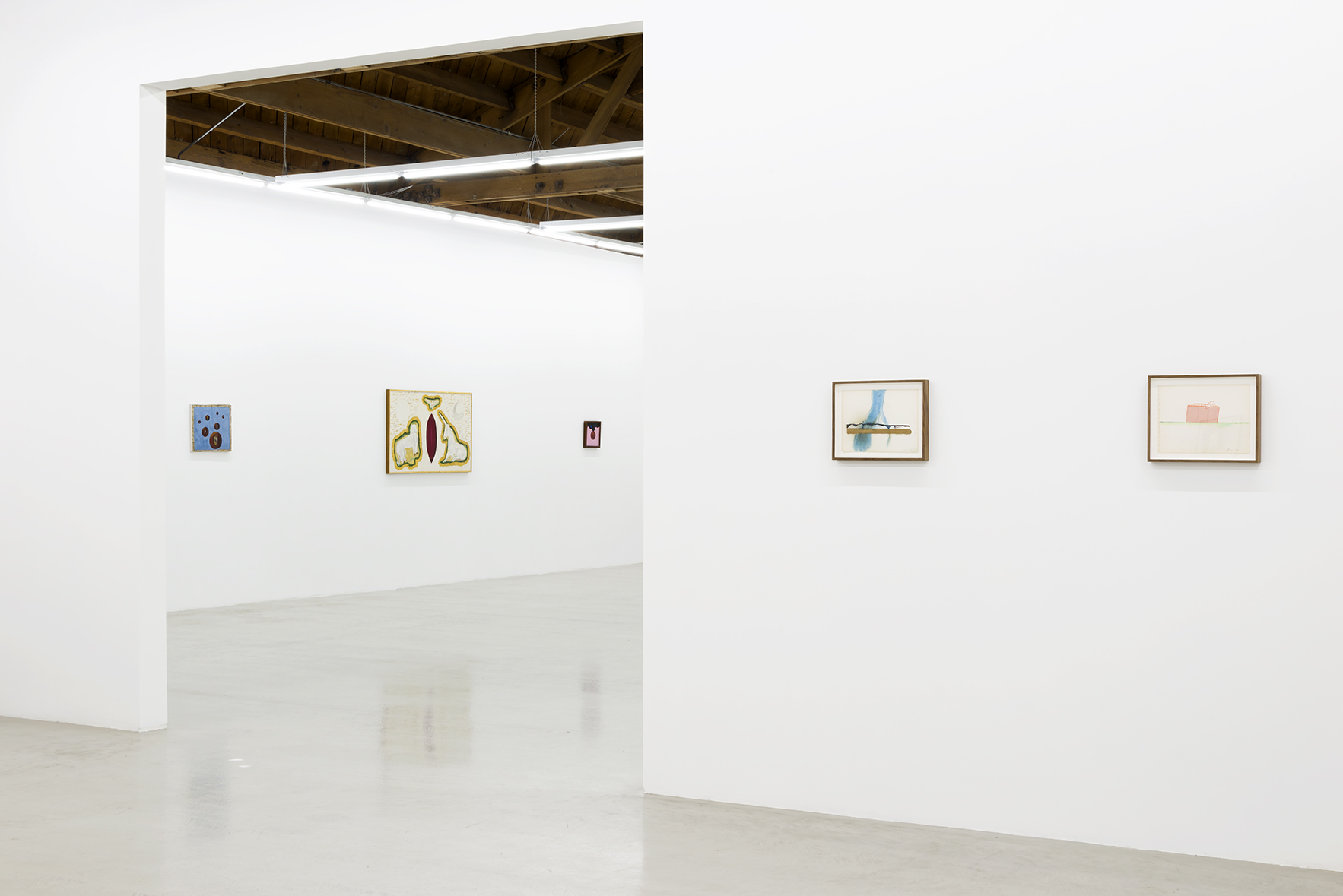 Installation view of Joan Snyder's works on paper as well as Forrest Bess works painted from the artist's visions