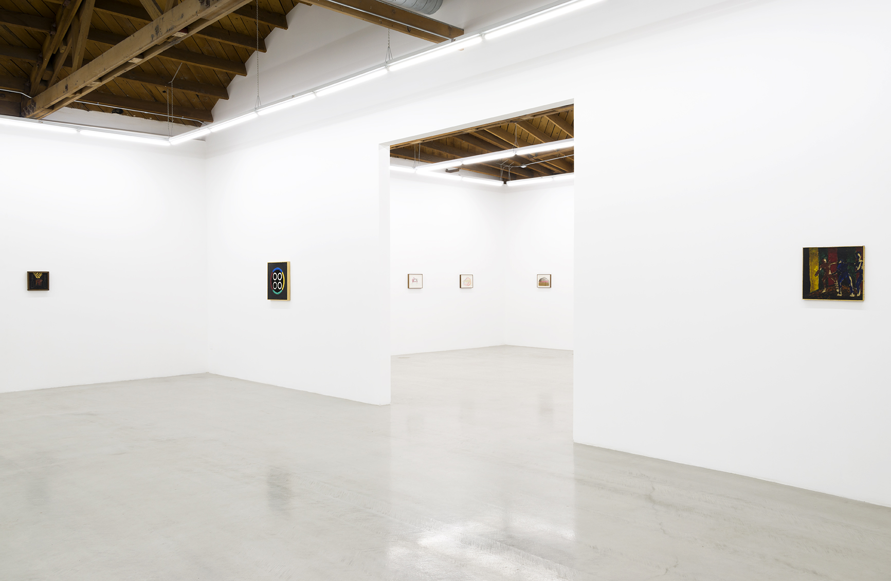 Installation view of Forrest Bess works painted from the artist's visions as well as Joan Snyder's works on paper
