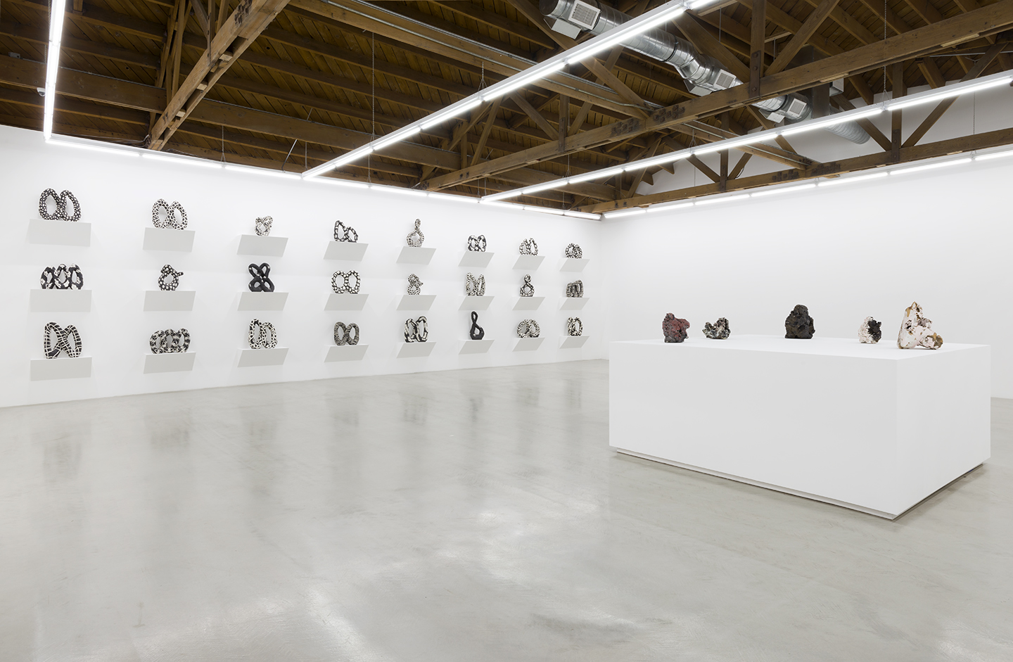 Installation view of Julia Haft-Candells Infinity series displaying the 24 varying ceramic infinites and the pedestal with the abstract ceramic weights series