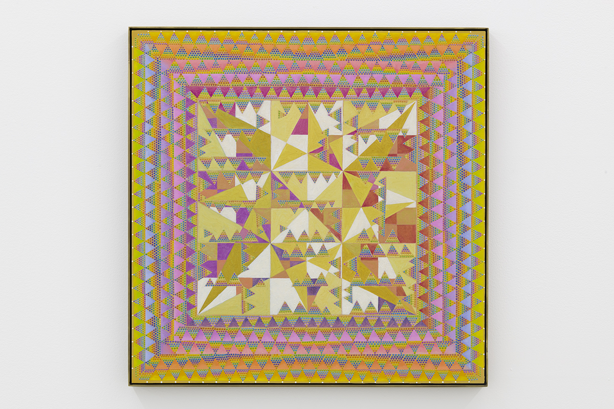 Xylor Jane's mesmerizing Magic Square for Earthlings is a vibrant rainbow of concisely inked triangles creating a faux frame with intricate jagged shapes in the center of the square board