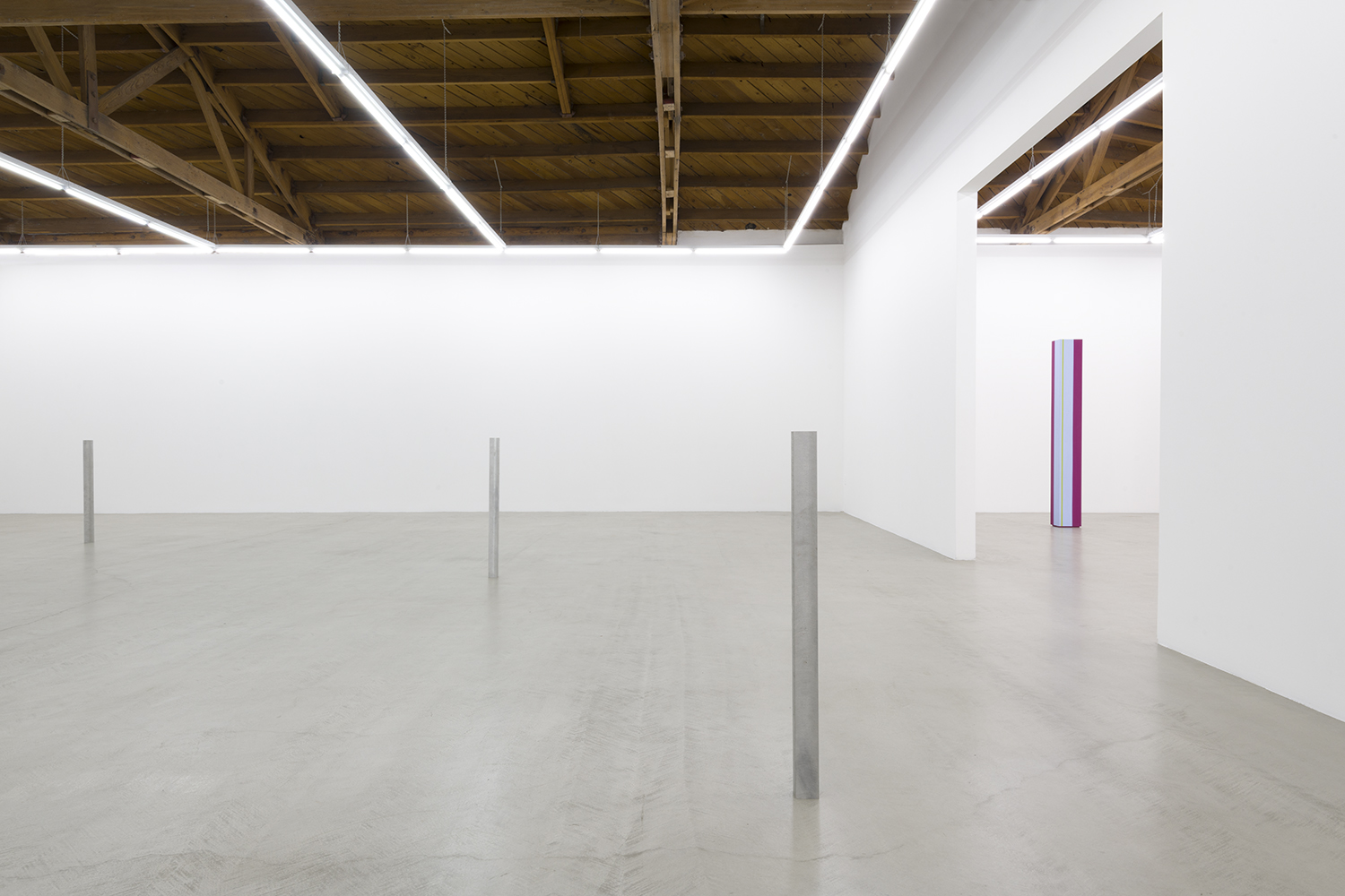 Installation image of three aluminum and steel cast sculptures standing erect methodically placed within the gallery along with an Anne Truitt sculpture on the right side